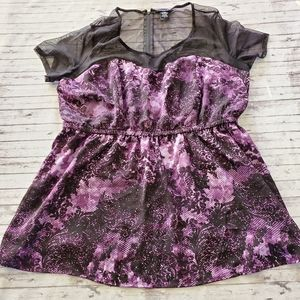 Torrid Blouse 2 2X Purple Roses Mesh